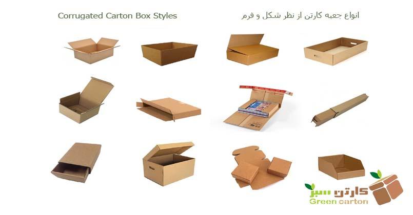 انواع کارتن (جعبه) بسته بندی از نظر شکل و فرم